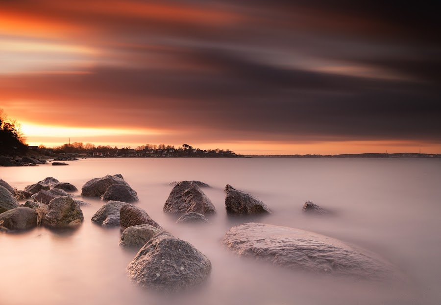 Orange by Kim Borup Matzen - Landscapes Waterscapes ( water, sunset, long exposure, seascape, filter )