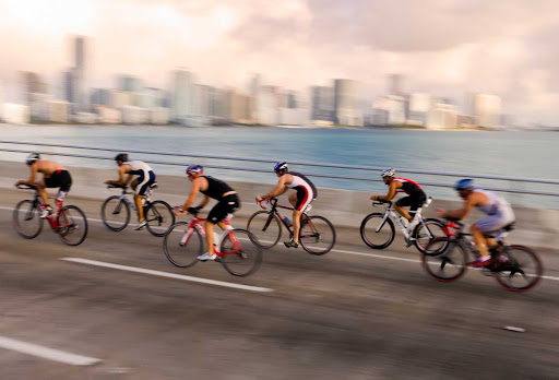 Cyclists race across a causeway in Key Biscayne, Florida.
