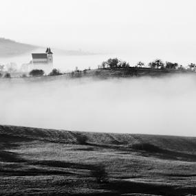 Morning in Transylvania by Ioan-Dan Petringel - Black & White Landscapes ( church, fog, romania, morning, transylvania )