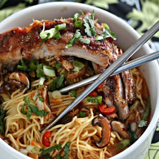 Chinese Noodles with Baked Sriracha Ribs