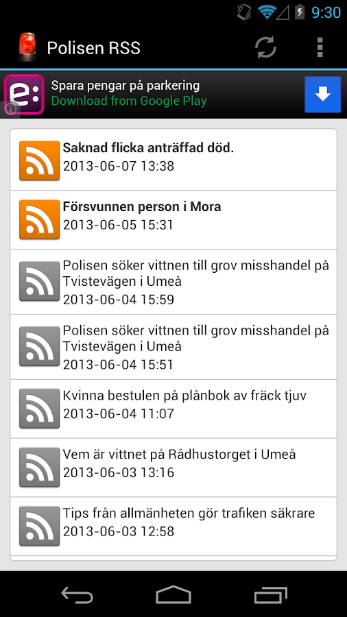 Polisen RSS - screenshot