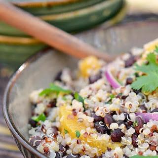 Quinoa and Black Bean Salad with Citrus-Coriander Dressing.