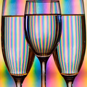 by Pat Kiellor - Artistic Objects Cups, Plates & Utensils ( glass, stripes, rainbow,  )