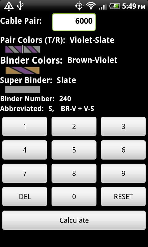 Telecom Color Code Calculator - screenshot