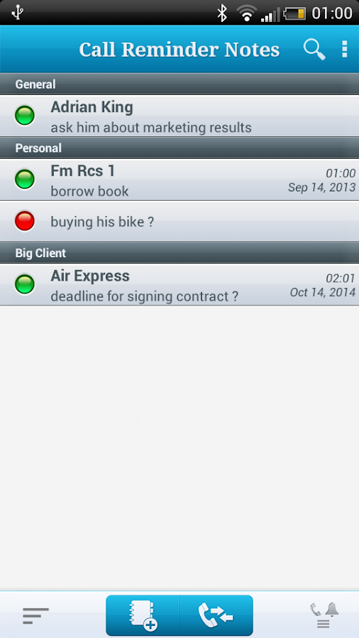 Call Reminder Notes- screenshot