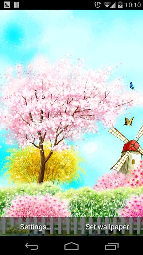蝴蝶小鳥櫻花下飛舞壁紙