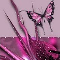 Pink Flower Leaves n Butterfly logo