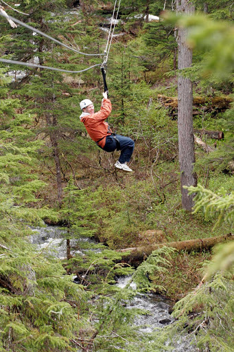 zipline-Juneau-Alaska - Ziplining over hills and trees near Juneau, Alaska.