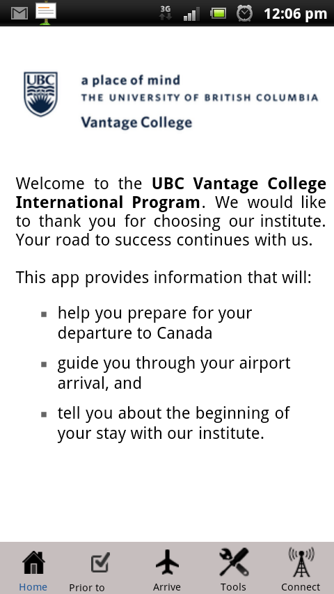 UBC Vantage College PAL- screenshot
