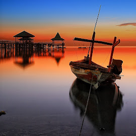 Sunrise Boat by Ina Herliana Koswara - Transportation Boats ( water, pier, beach, sunrise, boat,  )