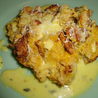 Butternut Bread Pudding, with Sage Hollandaise Sauce.