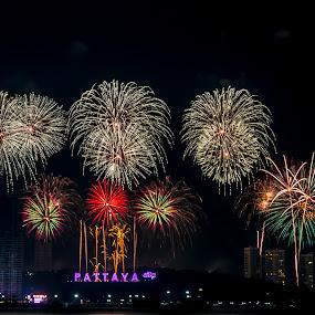 New Year Eve Pattaya. by John Greene - Public Holidays New Year's Eve ( new year's eve, thailand, fireworks, show, celebration, john greene, pattaya )