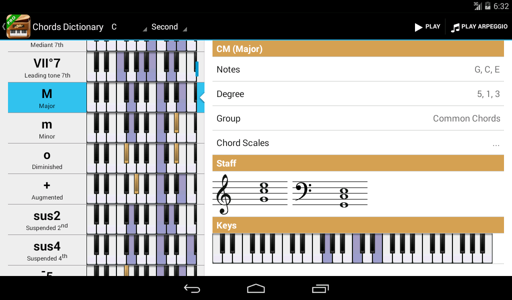 Piano Companion: chords,scales - screenshot