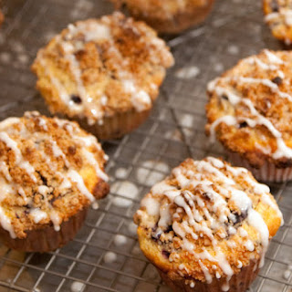 Cornmeal Lemon Blueberry Muffins with Streusel Topping and Lemon Glaze.