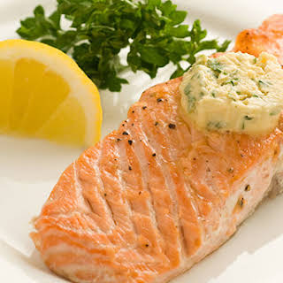 Grilled Salmon With Mustard Butter.