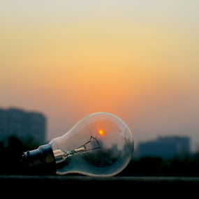 The camera captures light, our minds captures the images by Abhijeet Kumar - Artistic Objects Other Objects ( importance of sunlight in our life, meaning of light, sunset, bulb silhouette )