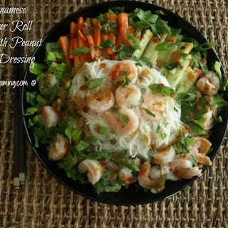 Vietnamese Summer Roll Salad with Peanut Sauce Dressing