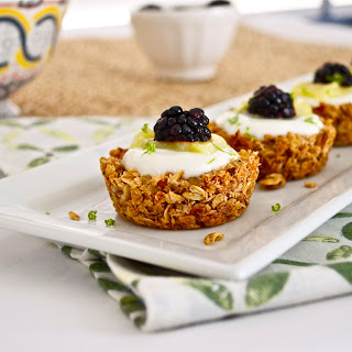 Granola Tart Shells with Greek Yogurt, Lime Curd, and Blackberries.