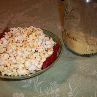 Cayenne Popcorn with Nutritional Yeast.