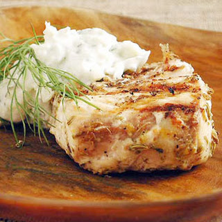 Fennel-Marinated Halibut with Fennel Tzatziki.