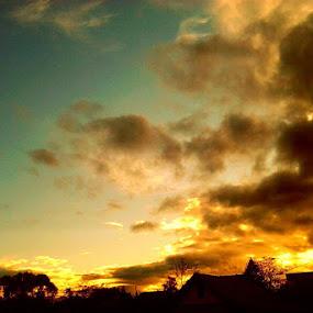 Cloudy Sunset by Nat Bolfan-Stosic - Uncategorized All Uncategorized ( village, colors, cloudy, sleepy, sumset )