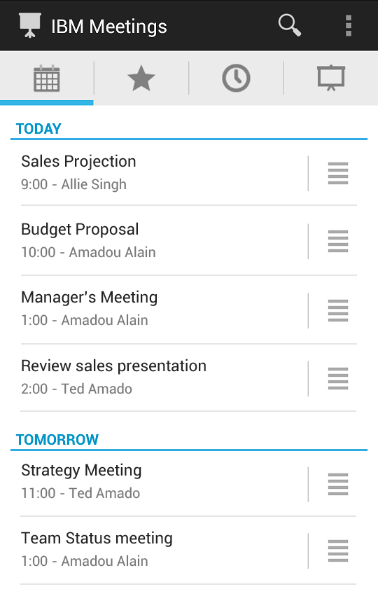 IBM Connections Meetings - screenshot