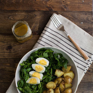 Garlic Roasted Potato, Spinach, and Egg Salad.