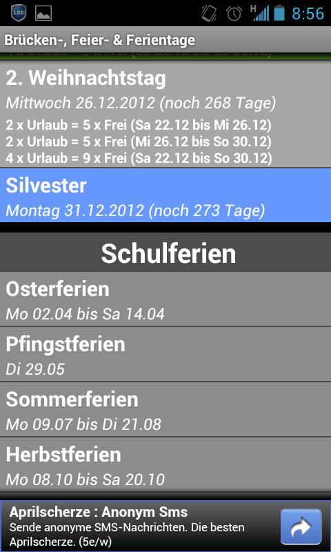 Brücken-, Feier- & Ferientage - screenshot