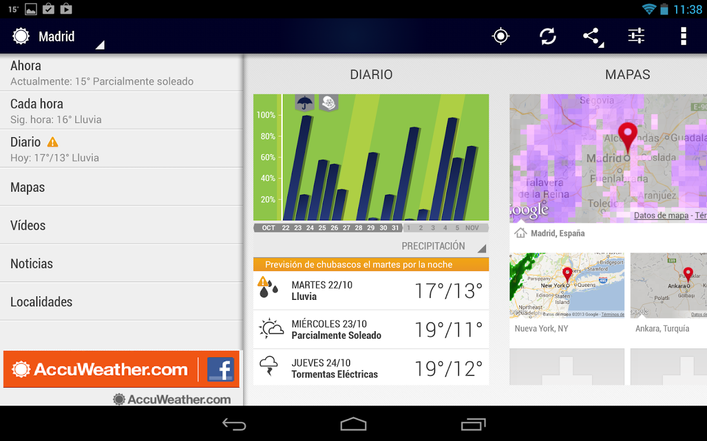 AccuWeather para Android - screenshot