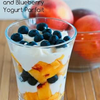 Fresh Peach and Blueberry Yogurt Parfait.