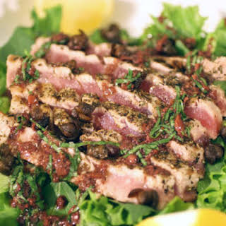 Grilled Rare Tuna Salad with Basil-Tapenade Vinaigrette.