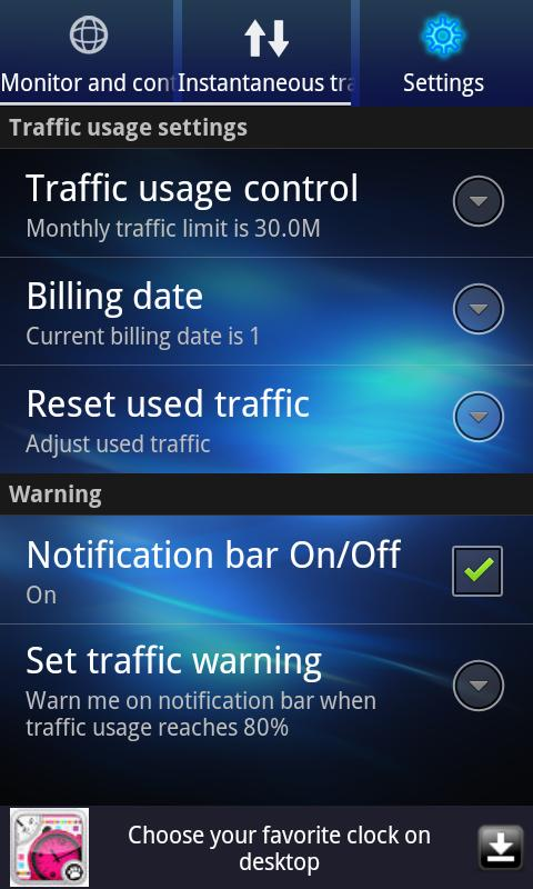Data Traffic Monitor- screenshot