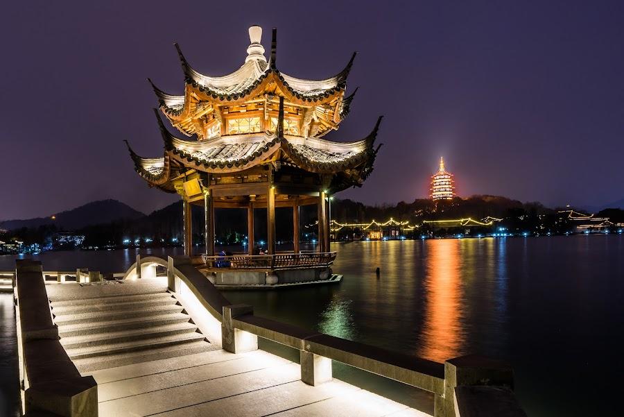 Pagoda Walk by Tom Moors - City,  Street & Park  Night ( water, west lake, pagoda, night, bridge, hangzhou, china )