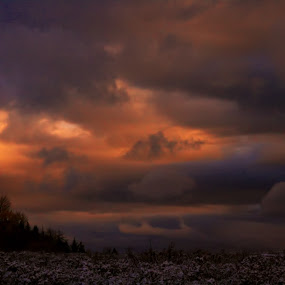 Morning Storm by Krys George - Landscapes Weather ( stormy, clouds, weather, cloudy, sunrise, storm, golden hour, sunset )