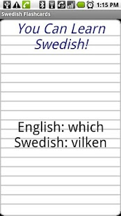 English to Swedish Flashcards - screenshot thumbnail