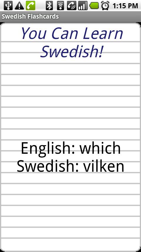 English to Swedish Flashcards- screenshot
