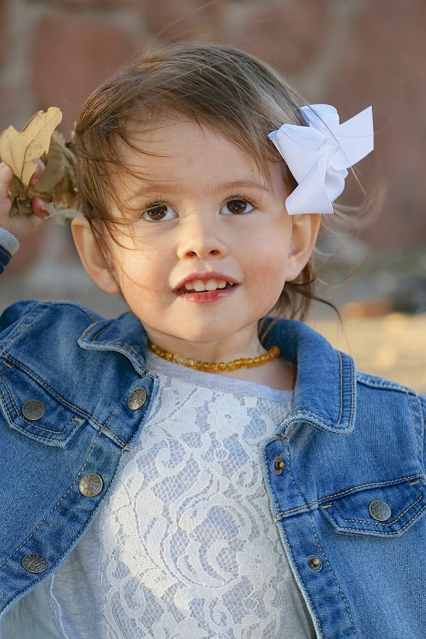 by Kathy Suttles - Babies & Children Children Candids ( brown eyes, lace, little girl, windy, oklahoma, happy, playing in leaves, outdoors, lil lady, fall, denim, portrait,  )