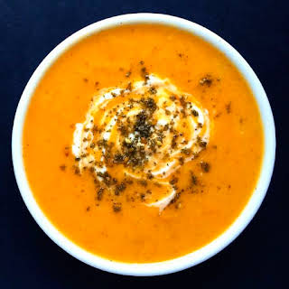Creamy Roasted Root Vegetable Soup with Za'atar.