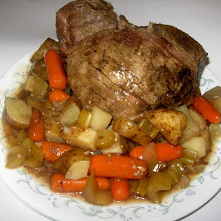 Slow Cooker Top Round Roast with Potatoes & Vegtables.