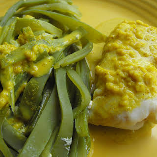 Fish and Green Beans with Curried Oatmeal Sauce.
