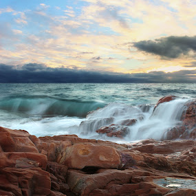 ALL THE MOODS OF THE WATER by Paolo Lazzarotti - Landscapes Waterscapes ( tuscany, emerald water, sunset, waves, seascape, still water, red cliffs,  )