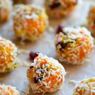 Indian Gajar Halwa Ladoo - Sweet Carrot and Coconut Truffles.