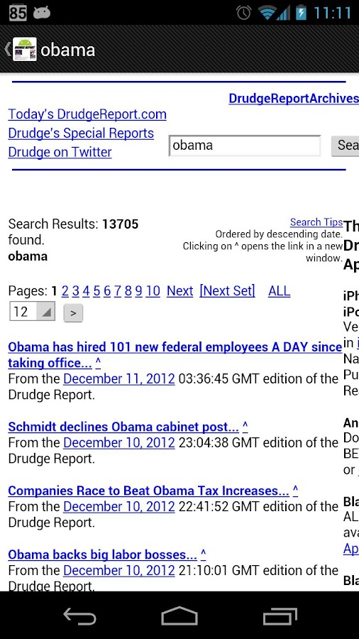 Drudge Report On Droid Pro - screenshot