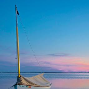 Boat at Sunset by Miren Etcheverry - Landscapes Sunsets & Sunrises ( harbor, sky, bay, sunset, sea, ocean, boat, dusk, cape cod, provincetown )
