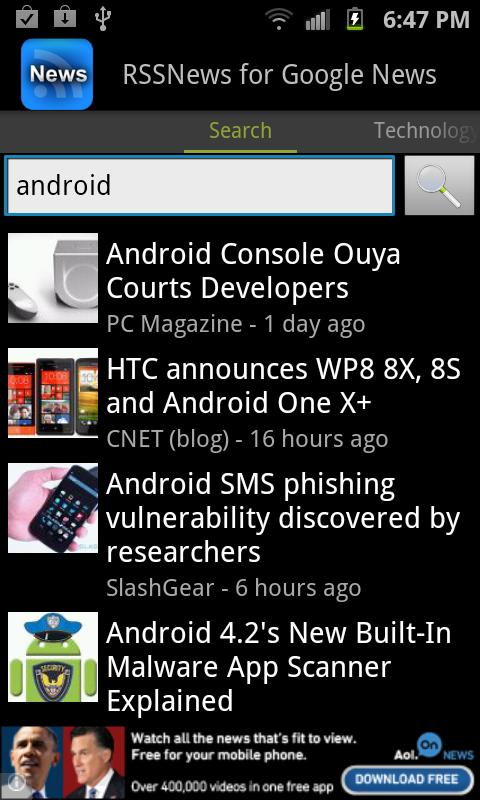 SNews - Google News Reader - screenshot