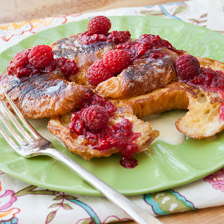 Croissant French Toast with Raspberry and Vanilla Sauce