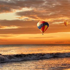 Ballooning  by Loredana  Smith - Landscapes Travel ( splash, dune, solitude, beach, travel, remote, sky, nature, surf, climate, tourism, leisure, balloons, tourist, traveling, serene, australia, scene, air, view, culture, panoramic, shore, australian, tropical, ocean, beauty, landscape, coastline, romance, coast, escape, sun, tranquil, sunny, idyllic, water, sand, seashore, waves, trace, sea, seascape, relaxation, vacations, paradise, deserted, enjoyment, flight, color, sunset, summer )