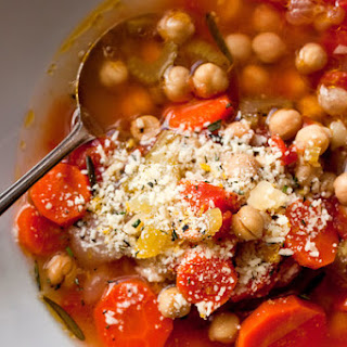 Chickpea Vegetable Soup With Parmesan and Rosemary