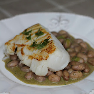Cod Fish with Pesto and White Beans.