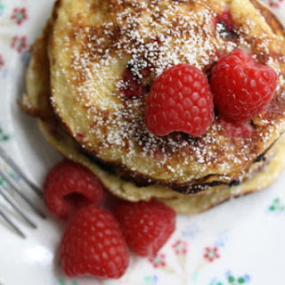 Sweet Almond Pancakes with Fresh Raspberries.